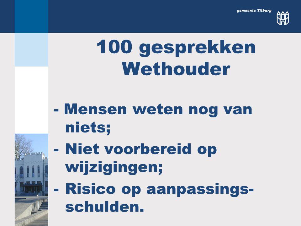 100 gesprekken Wethouder - Mensen weten nog van niets; -Niet voorbereid op wijzigingen; -Risico op aanpassings- schulden.