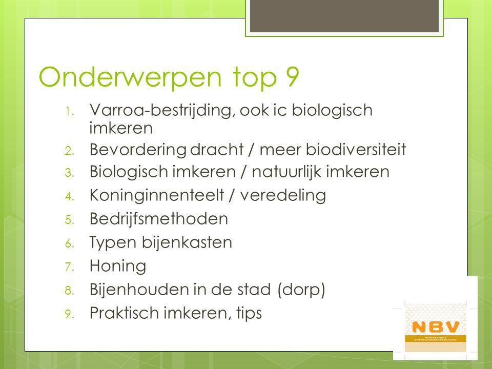 Onderwerpen top 9 1. Varroa-bestrijding, ook ic biologisch imkeren 2.