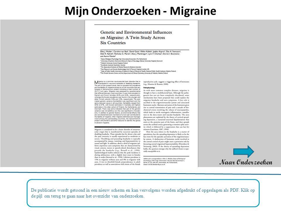 Mijn Onderzoeken - Migraine De publicatie wordt getoond in een nieuw scherm en kan vervolgens worden afgedrukt of opgeslagen als PDF.