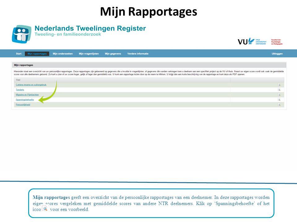 Mijn Rapportages Mijn rapportages geeft een overzicht van de persoonlijke rapportages van een deelnemer.