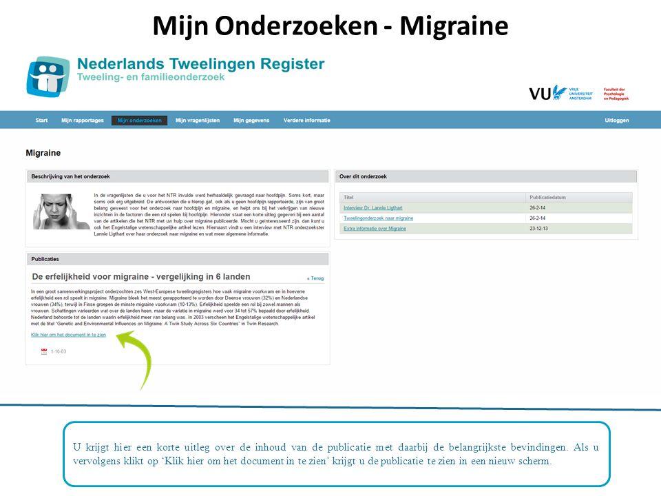 Mijn Onderzoeken - Migraine U krijgt hier een korte uitleg over de inhoud van de publicatie met daarbij de belangrijkste bevindingen.