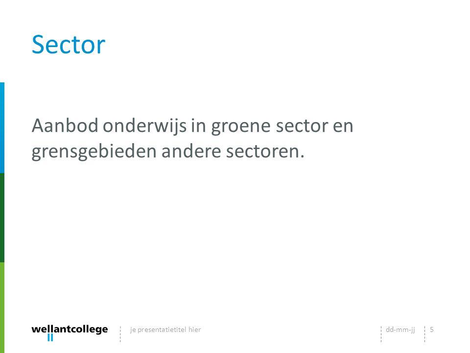 Sector Aanbod onderwijs in groene sector en grensgebieden andere sectoren.