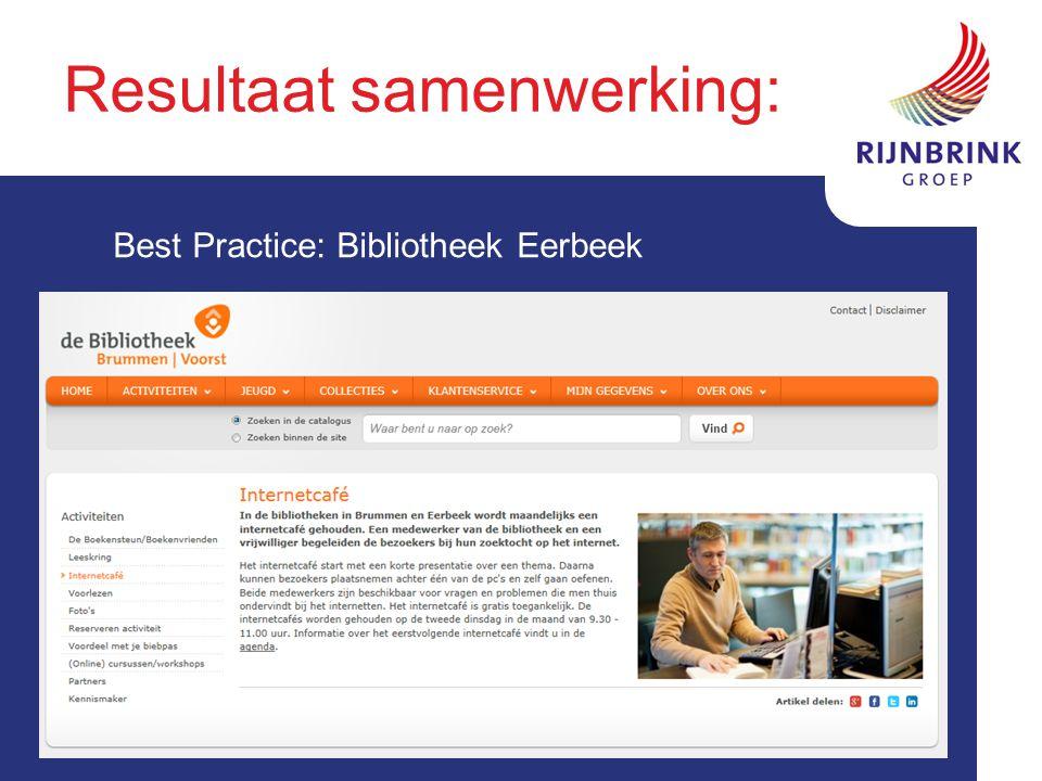 Resultaat samenwerking: Best Practice: Bibliotheek Eerbeek
