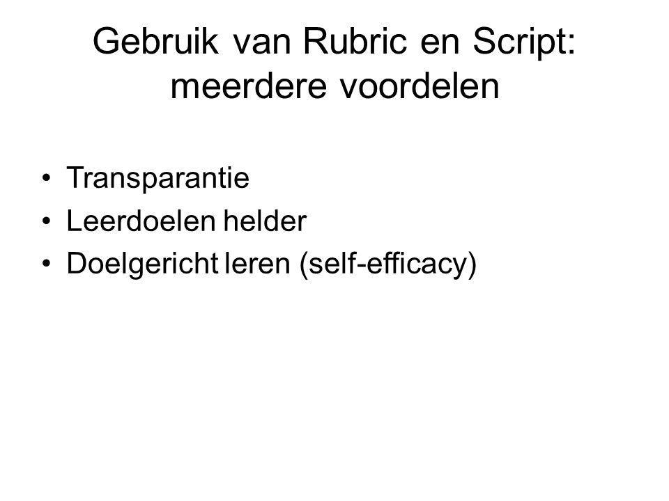 Gebruik van Rubric en Script: meerdere voordelen Transparantie Leerdoelen helder Doelgericht leren (self-efficacy)