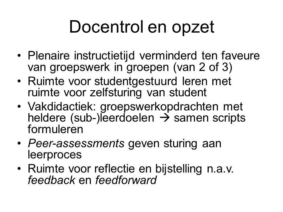 Docentrol en opzet Plenaire instructietijd verminderd ten faveure van groepswerk in groepen (van 2 of 3) Ruimte voor studentgestuurd leren met ruimte