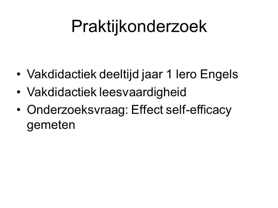 Praktijkonderzoek Vakdidactiek deeltijd jaar 1 lero Engels Vakdidactiek leesvaardigheid Onderzoeksvraag: Effect self-efficacy gemeten