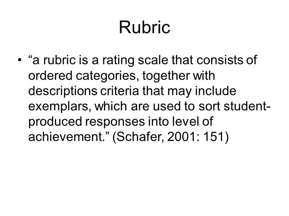 "Rubric ""a rubric is a rating scale that consists of ordered categories, together with descriptions criteria that may include exemplars, which are used"