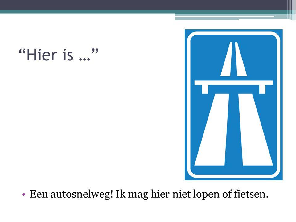 """""""Hier is …"""" Een autosnelweg! Ik mag hier niet lopen of fietsen."""