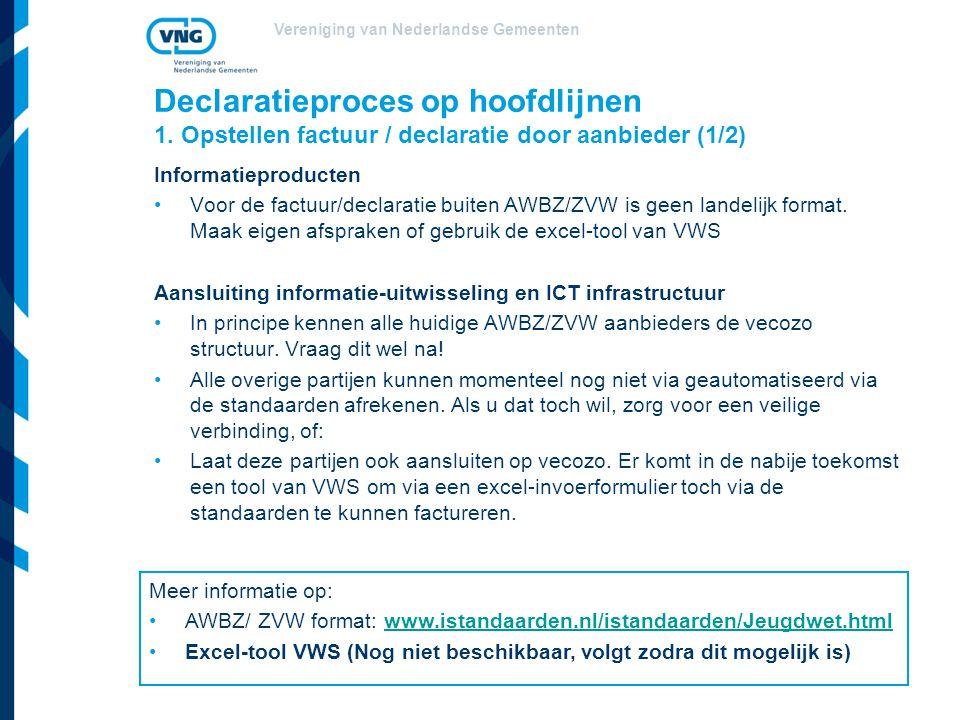 Vereniging van Nederlandse Gemeenten Declaratieproces op hoofdlijnen 1.