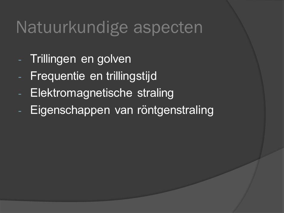 Natuurkundige aspecten - Trillingen en golven - Frequentie en trillingstijd - Elektromagnetische straling - Eigenschappen van röntgenstraling
