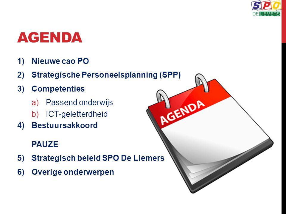 AGENDA 1)Nieuwe cao PO 2)Strategische Personeelsplanning (SPP) 3)Competenties a)Passend onderwijs b)ICT-geletterdheid 4)Bestuursakkoord PAUZE 5)Strate