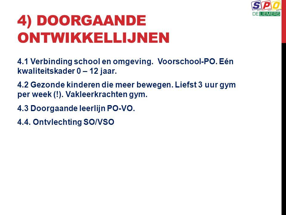 4) DOORGAANDE ONTWIKKELLIJNEN 4.1 Verbinding school en omgeving. Voorschool-PO. Eén kwaliteitskader 0 – 12 jaar. 4.2 Gezonde kinderen die meer bewegen