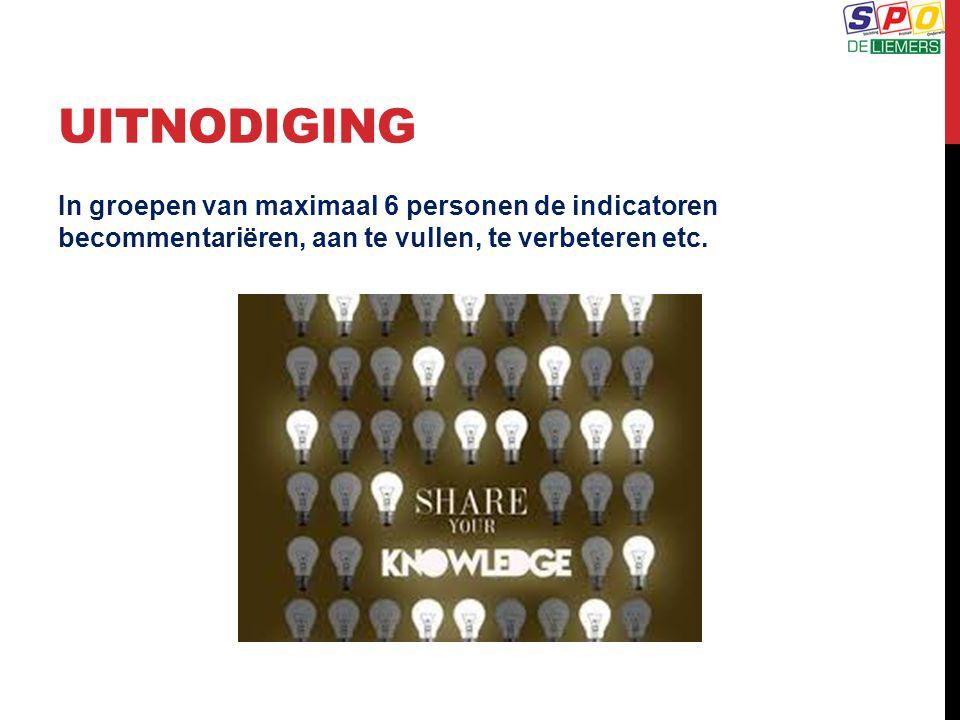 UITNODIGING In groepen van maximaal 6 personen de indicatoren becommentariëren, aan te vullen, te verbeteren etc.