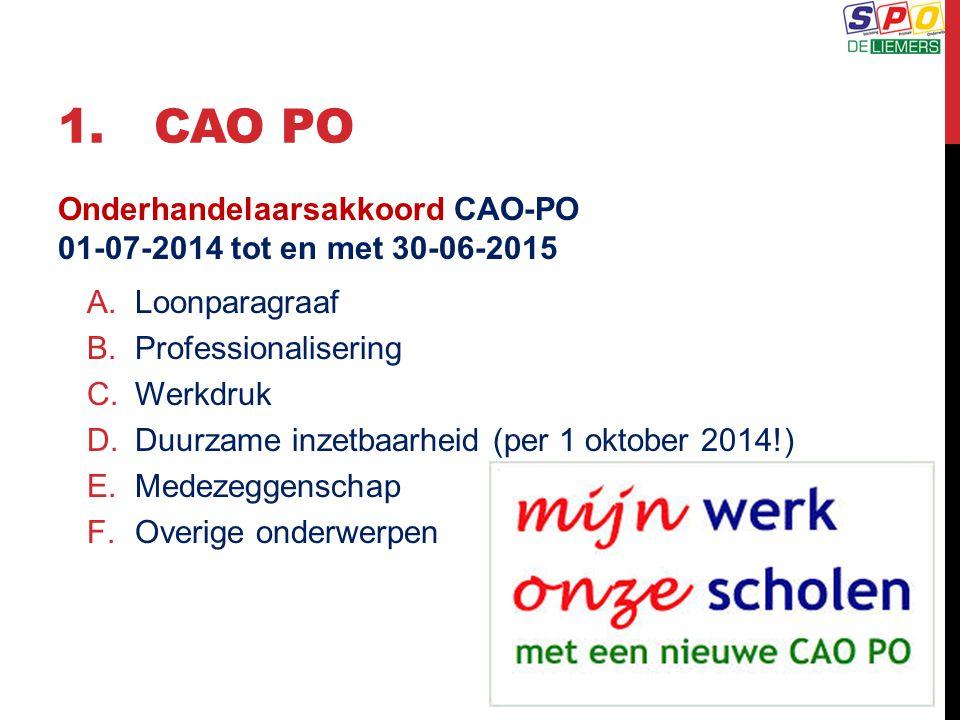 1.CAO PO Onderhandelaarsakkoord CAO-PO 01-07-2014 tot en met 30-06-2015 A.Loonparagraaf B.Professionalisering C.Werkdruk D.Duurzame inzetbaarheid (per