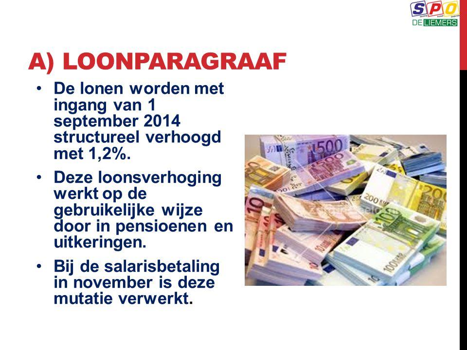 A) LOONPARAGRAAF De lonen worden met ingang van 1 september 2014 structureel verhoogd met 1,2%. Deze loonsverhoging werkt op de gebruikelijke wijze do