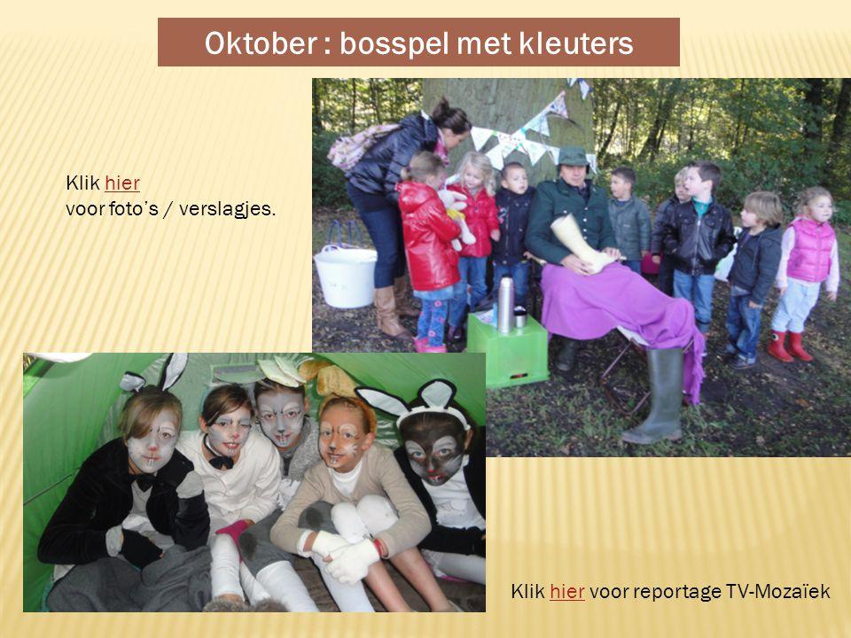 Oktober : bosspel met kleuters Klik hierhier voor foto's / verslagjes.