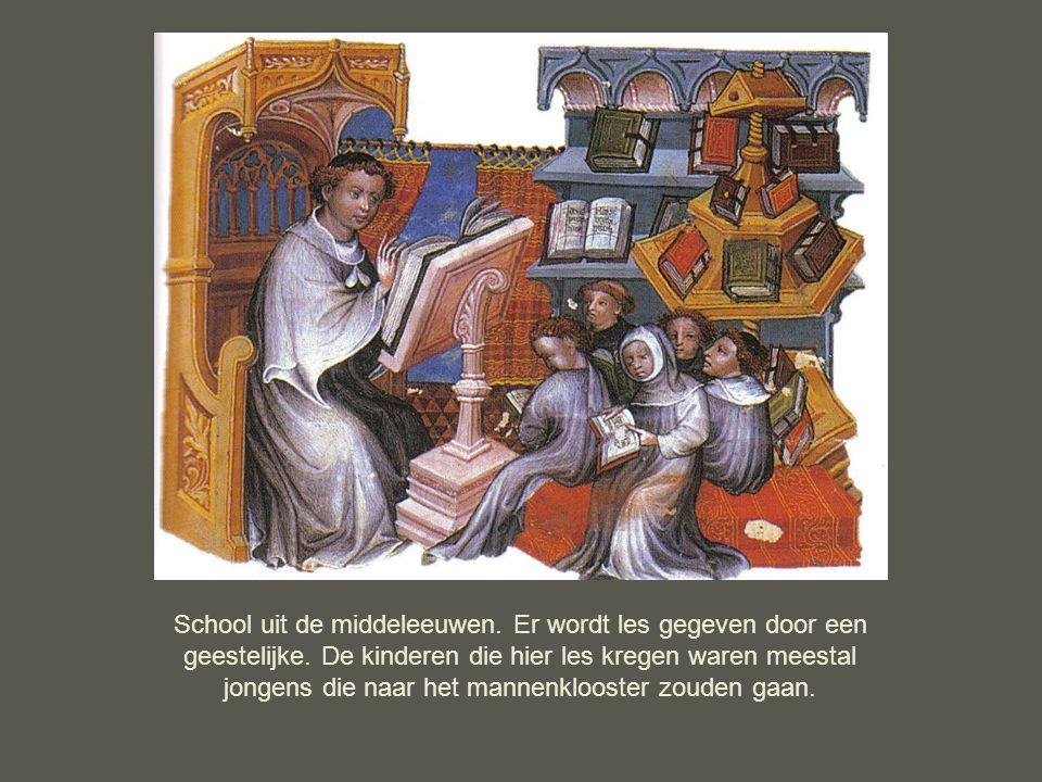 School uit de middeleeuwen. Er wordt les gegeven door een geestelijke. De kinderen die hier les kregen waren meestal jongens die naar het mannenkloost