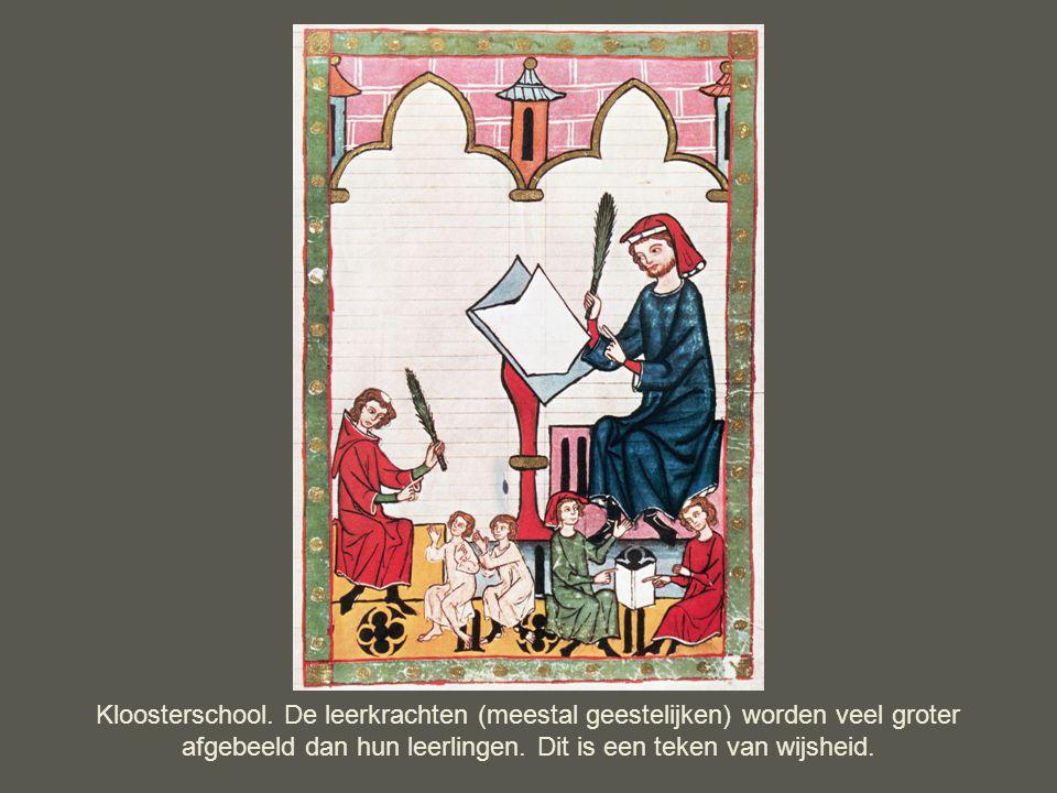 Kloosterschool. De leerkrachten (meestal geestelijken) worden veel groter afgebeeld dan hun leerlingen. Dit is een teken van wijsheid.