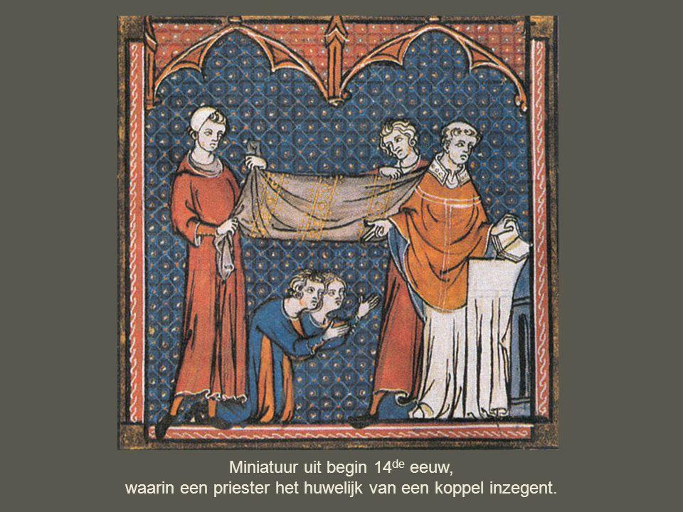 Miniatuur uit begin 14 de eeuw, waarin een priester het huwelijk van een koppel inzegent.