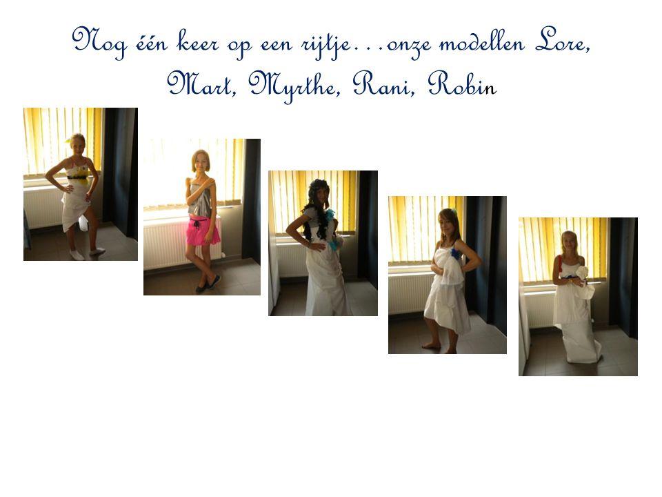Nog één keer op een rijtje…onze modellen Lore, Mart, Myrthe, Rani, Robin