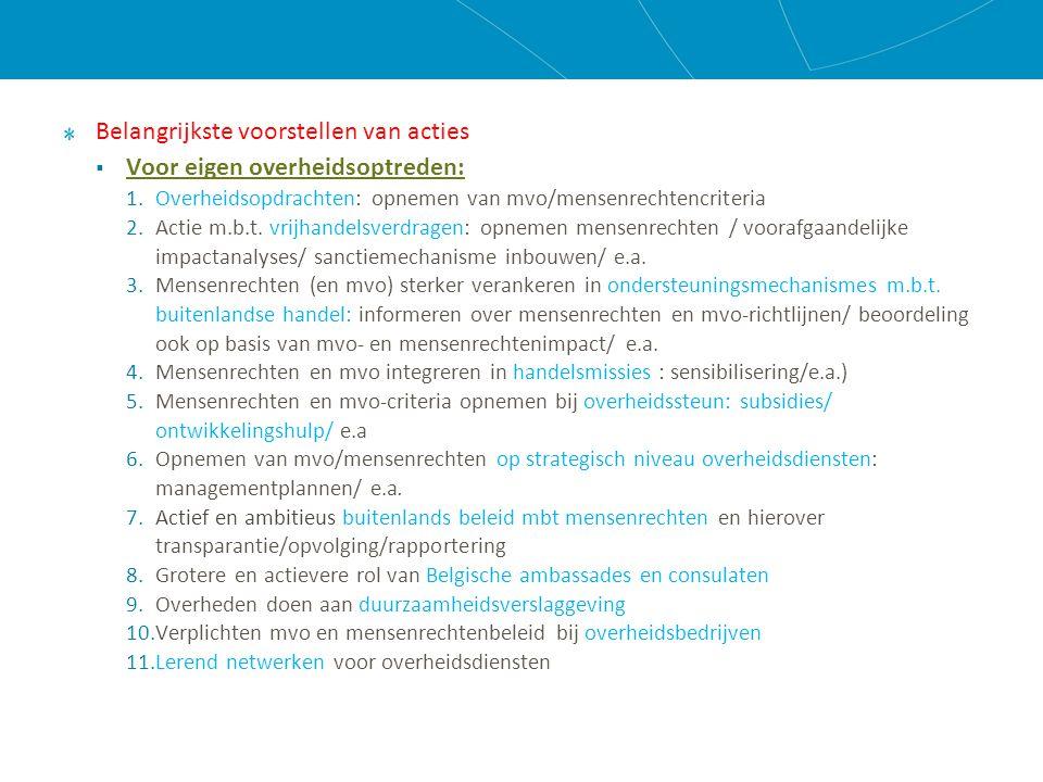 Belangrijkste voorstellen van acties  Voor eigen overheidsoptreden: 1.Overheidsopdrachten: opnemen van mvo/mensenrechtencriteria 2.Actie m.b.t.