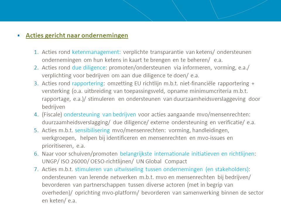  Acties gericht naar ondernemingen 1.Acties rond ketenmanagement: verplichte transparantie van ketens/ ondersteunen ondernemingen om hun ketens in kaart te brengen en te beheren/ e.a.