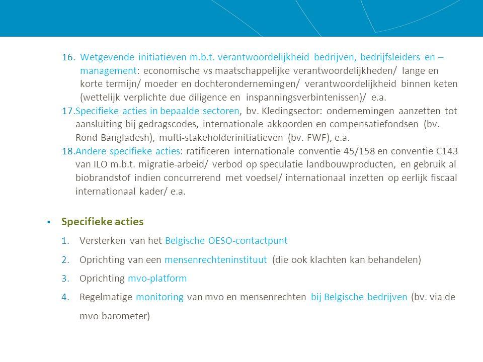 16.Wetgevende initiatieven m.b.t.