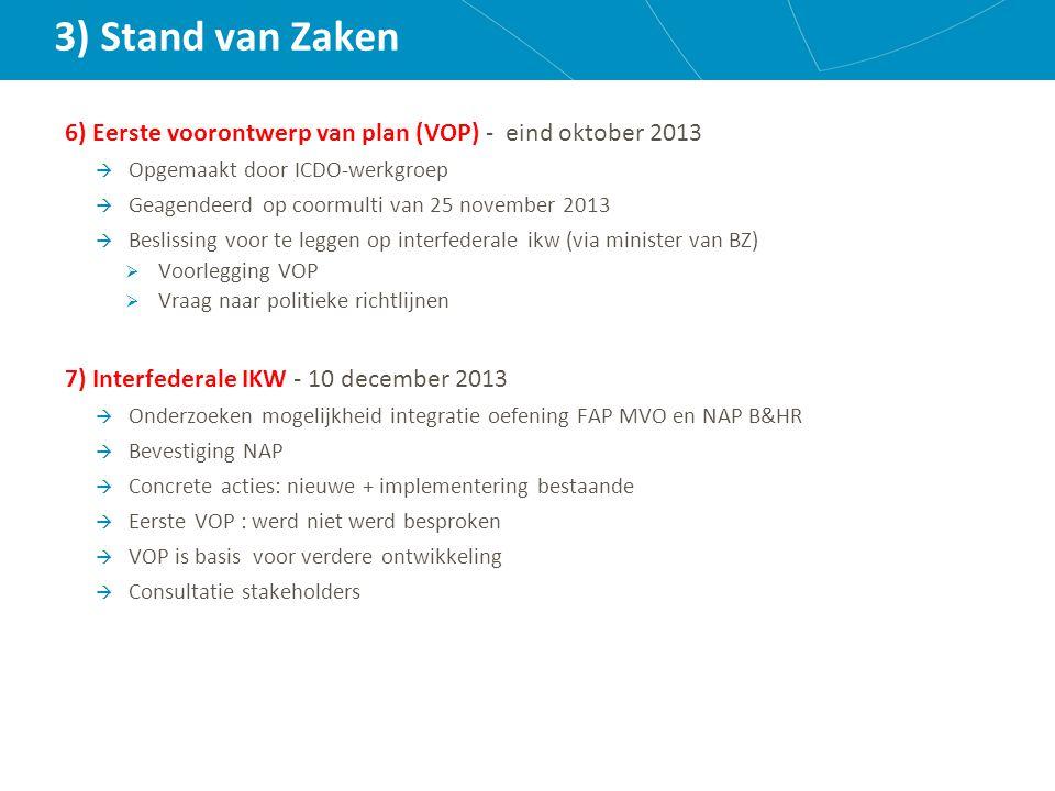 3) Stand van Zaken 6) Eerste voorontwerp van plan (VOP) - eind oktober 2013  Opgemaakt door ICDO-werkgroep  Geagendeerd op coormulti van 25 november 2013  Beslissing voor te leggen op interfederale ikw (via minister van BZ)  Voorlegging VOP  Vraag naar politieke richtlijnen 7) Interfederale IKW - 10 december 2013  Onderzoeken mogelijkheid integratie oefening FAP MVO en NAP B&HR  Bevestiging NAP  Concrete acties: nieuwe + implementering bestaande  Eerste VOP : werd niet werd besproken  VOP is basis voor verdere ontwikkeling  Consultatie stakeholders