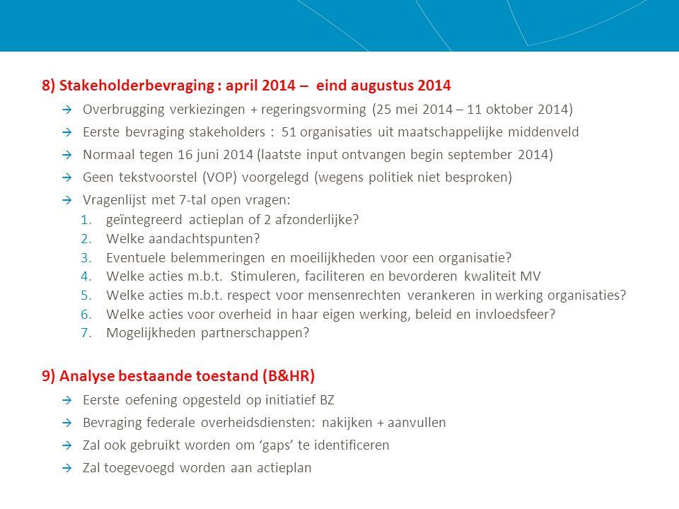 10) Verwerking resultaten Stakeholderbevraging - september /oktober 2014  Zie verder 11) Politieke engagement nieuwe regering - oktober 2014 – december 2014  Regeerakkoord  Beleidsnota's 2015 van minister van DO en minister van BZ 12) Verdere stappen:  Afwerking VOP (eind januari 2015)  Discussie IKW  Stakeholderoverleg: voorleggen en bespreken VOP met stakeholders (maart/april 2015?)  Verwerking input stakeholders  Discussie IKW  Bekrachtiging Plan (juni 2015)?