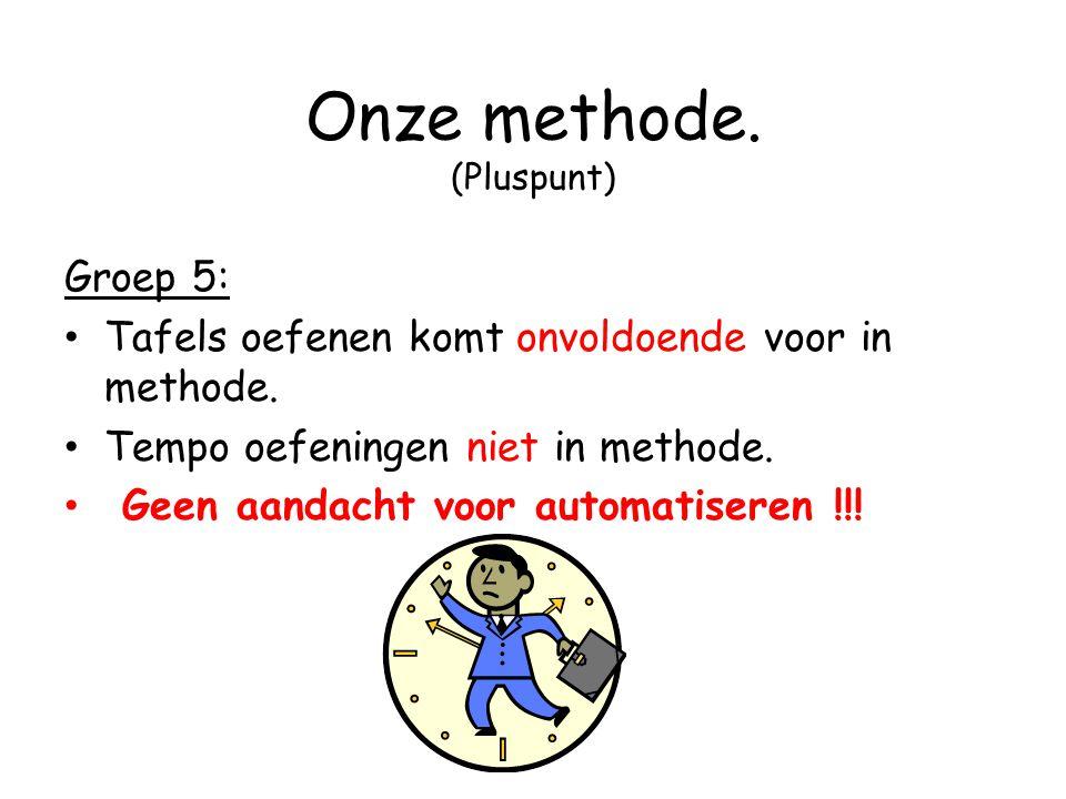 Onze methode. (Pluspunt) Groep 5: Tafels oefenen komt onvoldoende voor in methode. Tempo oefeningen niet in methode. Geen aandacht voor automatiseren