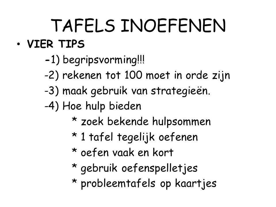 TAFELS INOEFENEN VIER TIPS -1) begripsvorming!!! -2) rekenen tot 100 moet in orde zijn -3) maak gebruik van strategieën. -4) Hoe hulp bieden * zoek be