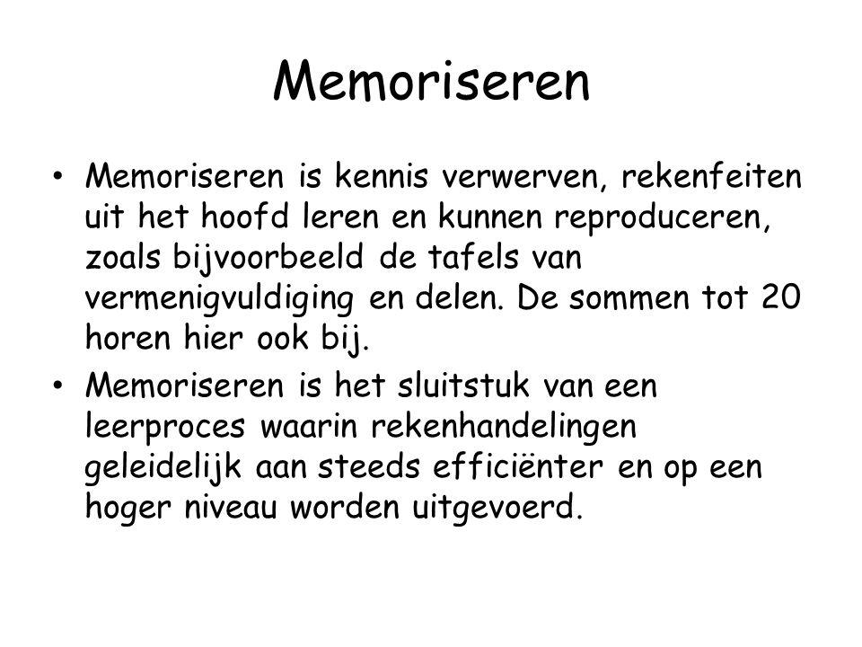 Memoriseren Memoriseren is kennis verwerven, rekenfeiten uit het hoofd leren en kunnen reproduceren, zoals bijvoorbeeld de tafels van vermenigvuldigin
