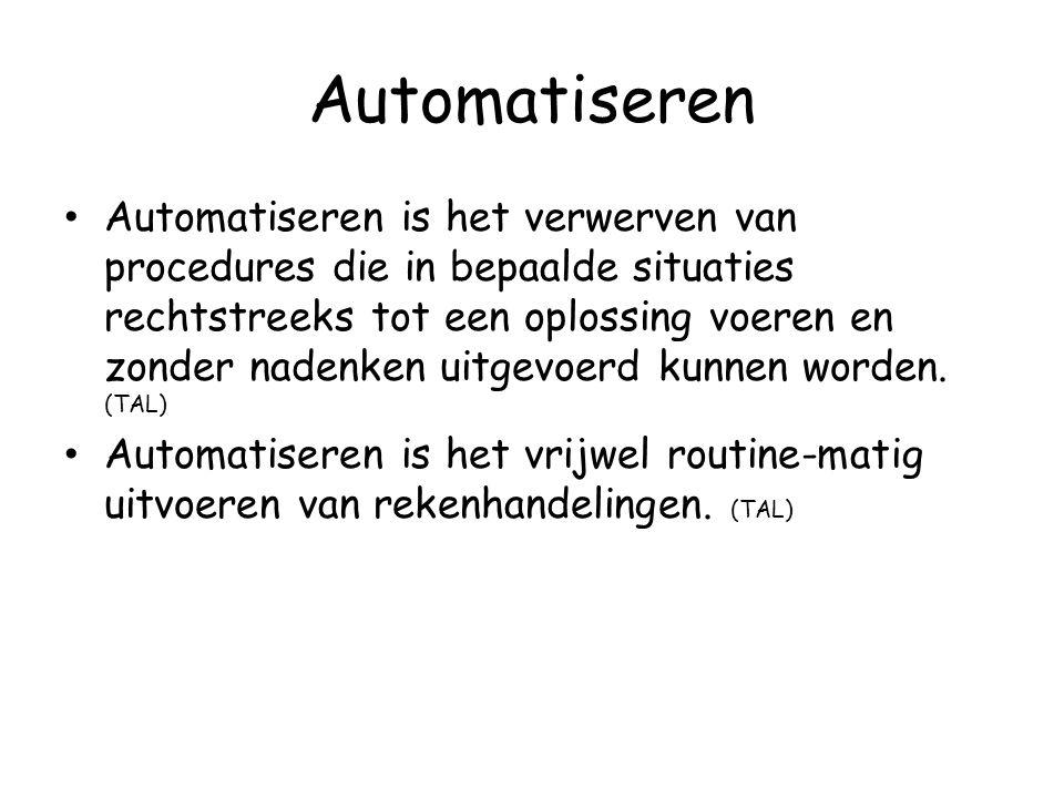 Automatiseren Automatiseren is het verwerven van procedures die in bepaalde situaties rechtstreeks tot een oplossing voeren en zonder nadenken uitgevo
