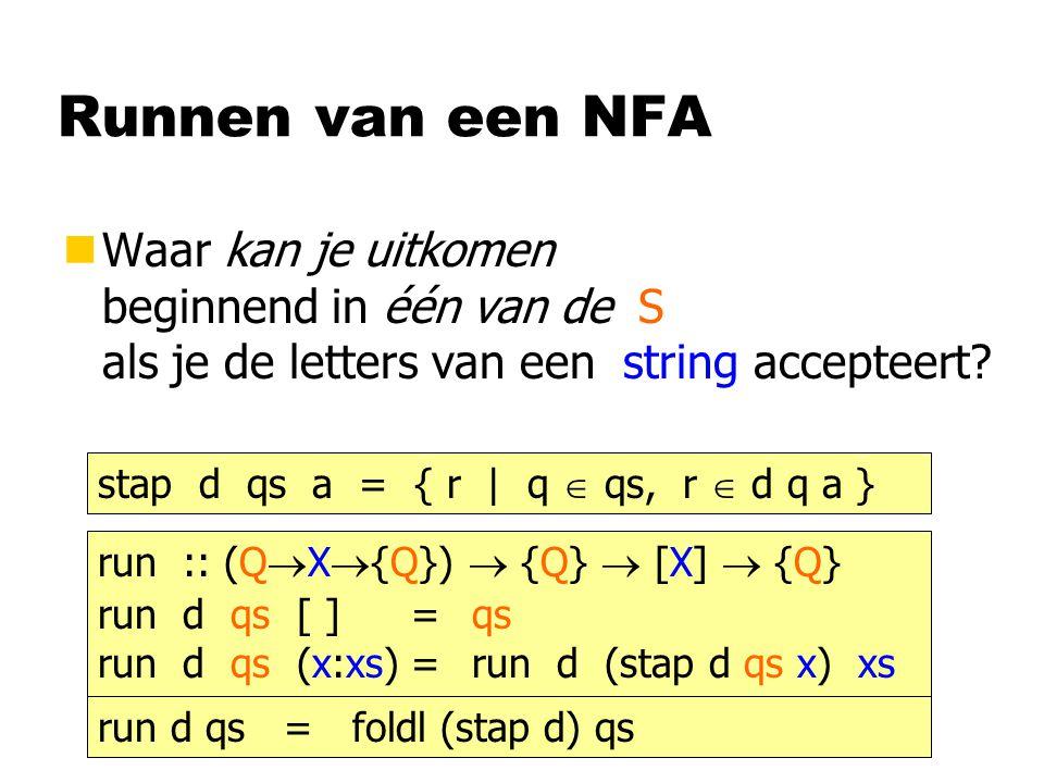 Runnen van een NFA nWaar kan je uitkomen beginnend in één van de S als je de letters van een string accepteert? run :: (Q  X  {Q})  {Q}  [X]  {Q}