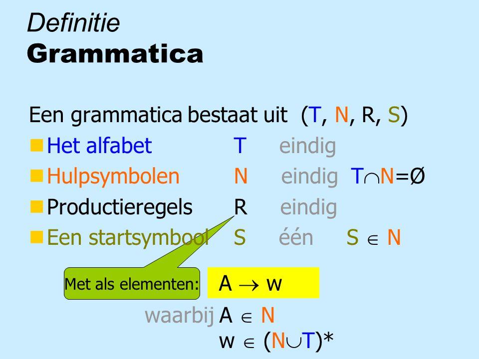 Met als elementen: A  w waarbij A  N w  (N  T)* Definitie Grammatica Een grammatica bestaat uit (T, N, R, S) nHet alfabet T eindig nHulpsymbolen N eindig T  N=Ø nProductieregels R eindig nEen startsymbool S één S  N