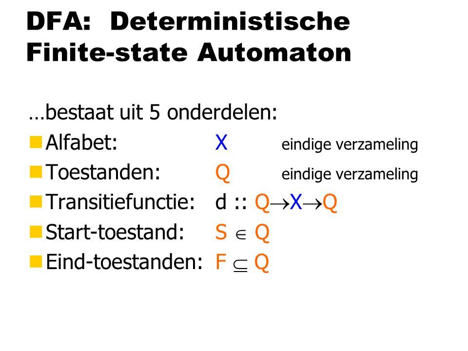 DFA: Deterministische Finite-state Automaton …bestaat uit 5 onderdelen: nAlfabet:X eindige verzameling nToestanden:Q eindige verzameling nTransitiefunctie:d :: Q  X  Q nStart-toestand:S  Q nEind-toestanden: F  Q