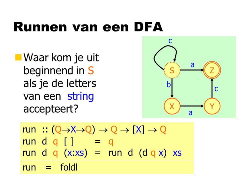 Runnen van een DFA nWaar kom je uit beginnend in S als je de letters van een string accepteert? S Z XY a b a c c run :: (Q  X  Q)  Q  [X]  Q run
