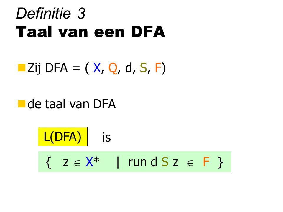 Definitie 3 Taal van een DFA nZij DFA = ( X, Q, d, S, F) nde taal van DFA is { z  X* | run d S z  F } L(DFA)