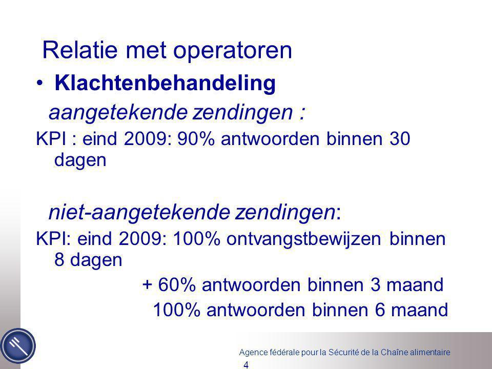 Agence fédérale pour la Sécurité de la Chaîne alimentaire 4 Relatie met operatoren Klachtenbehandeling aangetekende zendingen : KPI : eind 2009: 90% a