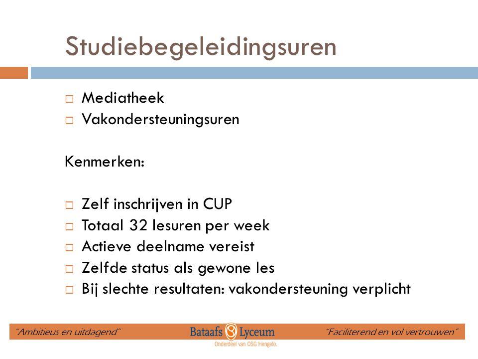 Studiebegeleidingsuren  Mediatheek  Vakondersteuningsuren Kenmerken:  Zelf inschrijven in CUP  Totaal 32 lesuren per week  Actieve deelname verei