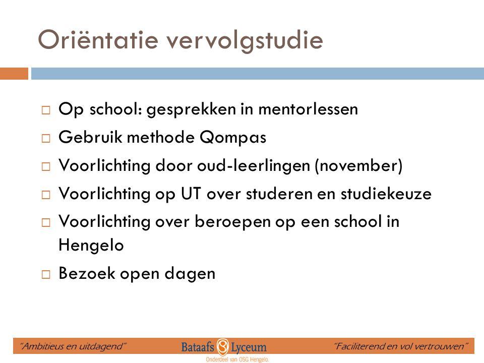 Oriëntatie vervolgstudie  Op school: gesprekken in mentorlessen  Gebruik methode Qompas  Voorlichting door oud-leerlingen (november)  Voorlichting