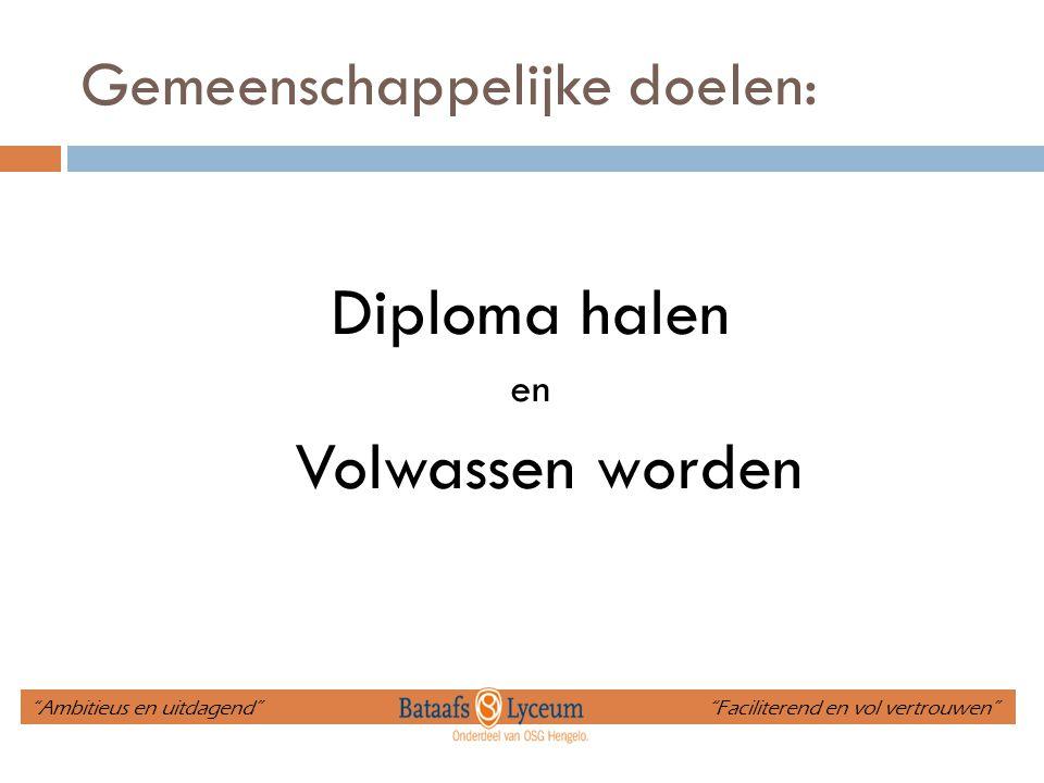 """Gemeenschappelijke doelen: Diploma halen en Volwassen worden """"Ambitieus en uitdagend"""" """"Faciliterend en vol vertrouwen"""""""