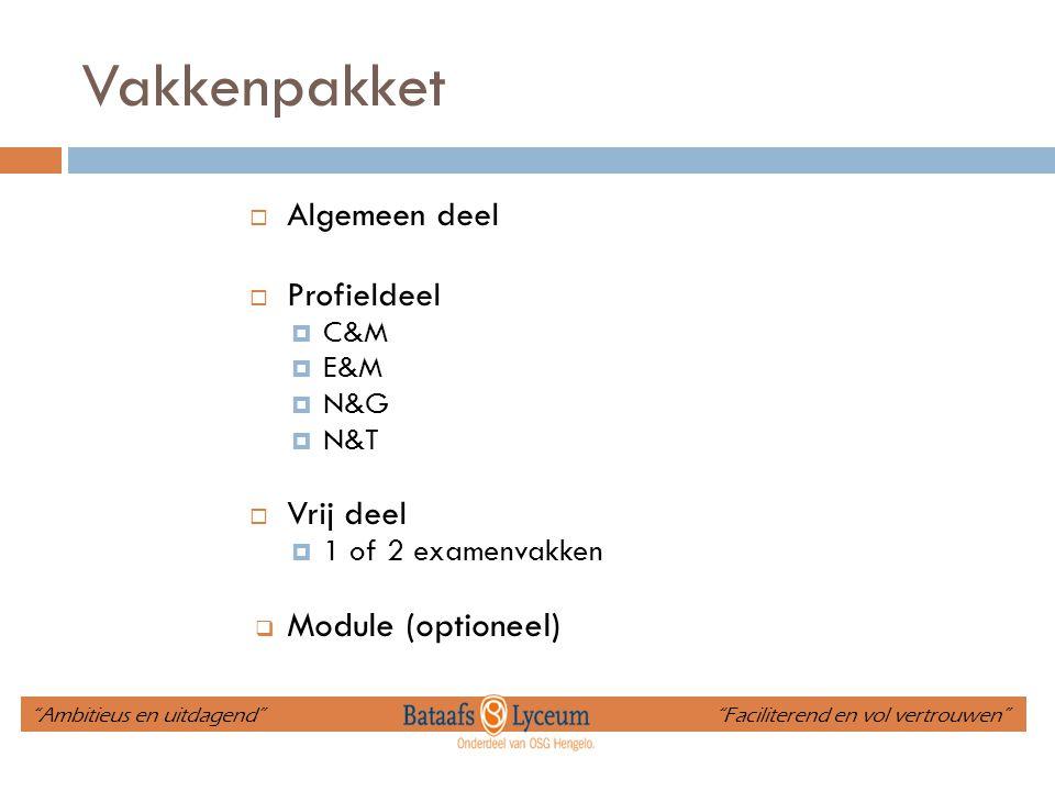 Vakkenpakket  Algemeen deel  Profieldeel  C&M  E&M  N&G  N&T  Vrij deel  1 of 2 examenvakken  Module (optioneel) Ambitieus en uitdagend Faciliterend en vol vertrouwen