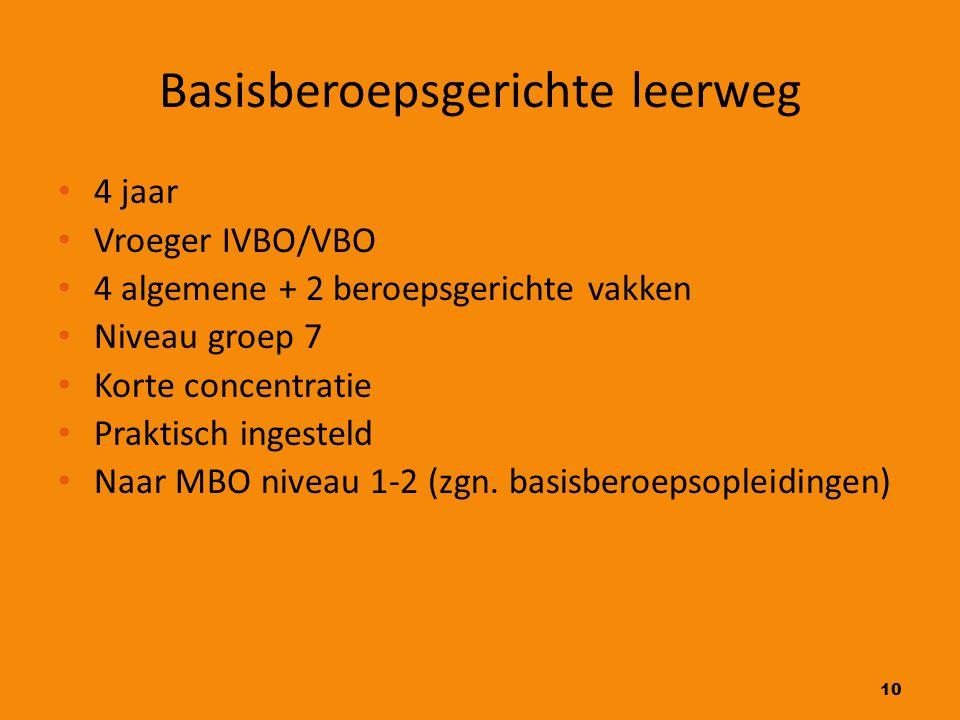 10 Basisberoepsgerichte leerweg 4 jaar Vroeger IVBO/VBO 4 algemene + 2 beroepsgerichte vakken Niveau groep 7 Korte concentratie Praktisch ingesteld Na