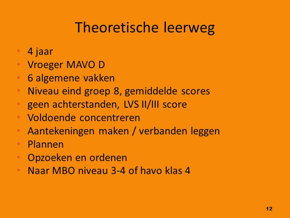 12 Theoretische leerweg 4 jaar Vroeger MAVO D 6 algemene vakken Niveau eind groep 8, gemiddelde scores geen achterstanden, LVS II/III score Voldoende