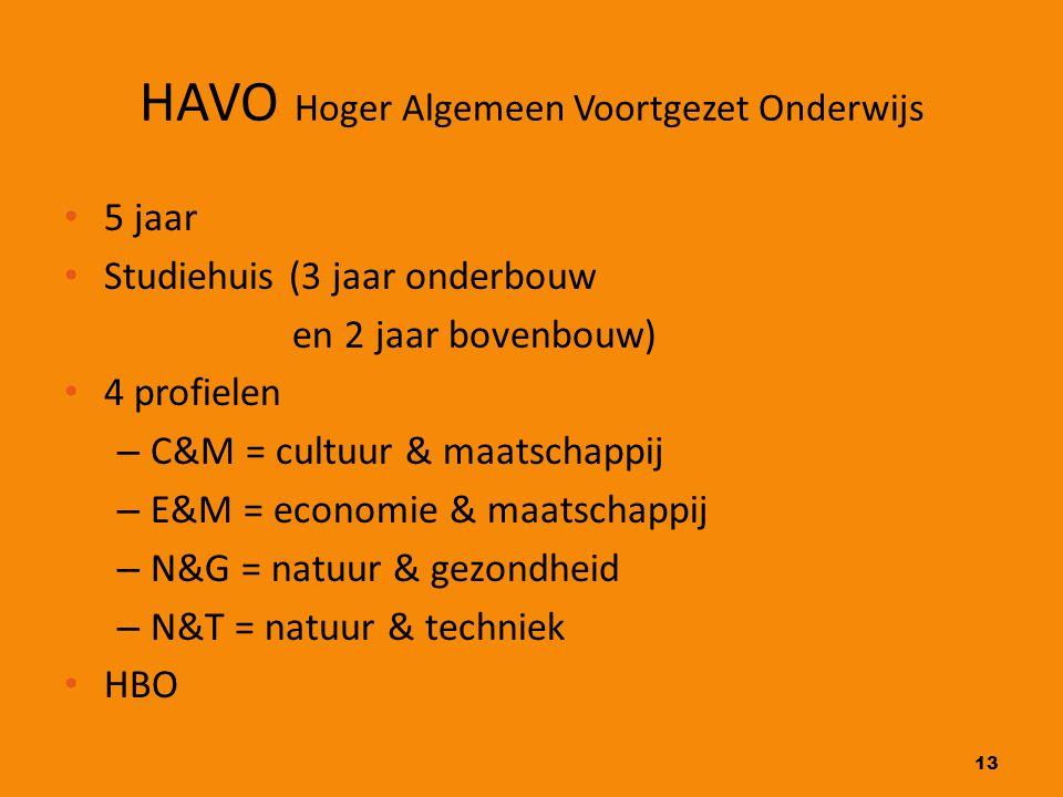 13 HAVO Hoger Algemeen Voortgezet Onderwijs 5 jaar Studiehuis (3 jaar onderbouw en 2 jaar bovenbouw) 4 profielen – C&M = cultuur & maatschappij – E&M