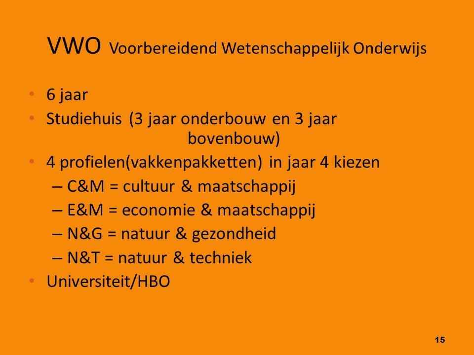 15 VWO Voorbereidend Wetenschappelijk Onderwijs 6 jaar Studiehuis (3 jaar onderbouw en 3 jaar bovenbouw) 4 profielen(vakkenpakketten) in jaar 4 kiezen