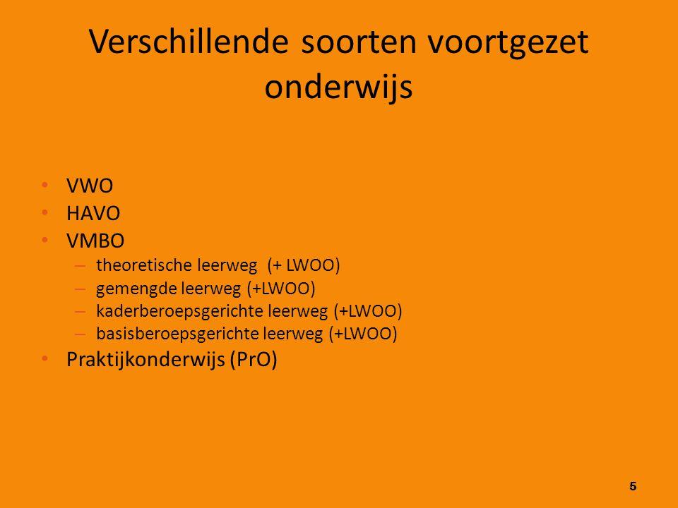 5 Verschillende soorten voortgezet onderwijs VWO HAVO VMBO – theoretische leerweg (+ LWOO) – gemengde leerweg (+LWOO) – kaderberoepsgerichte leerweg (