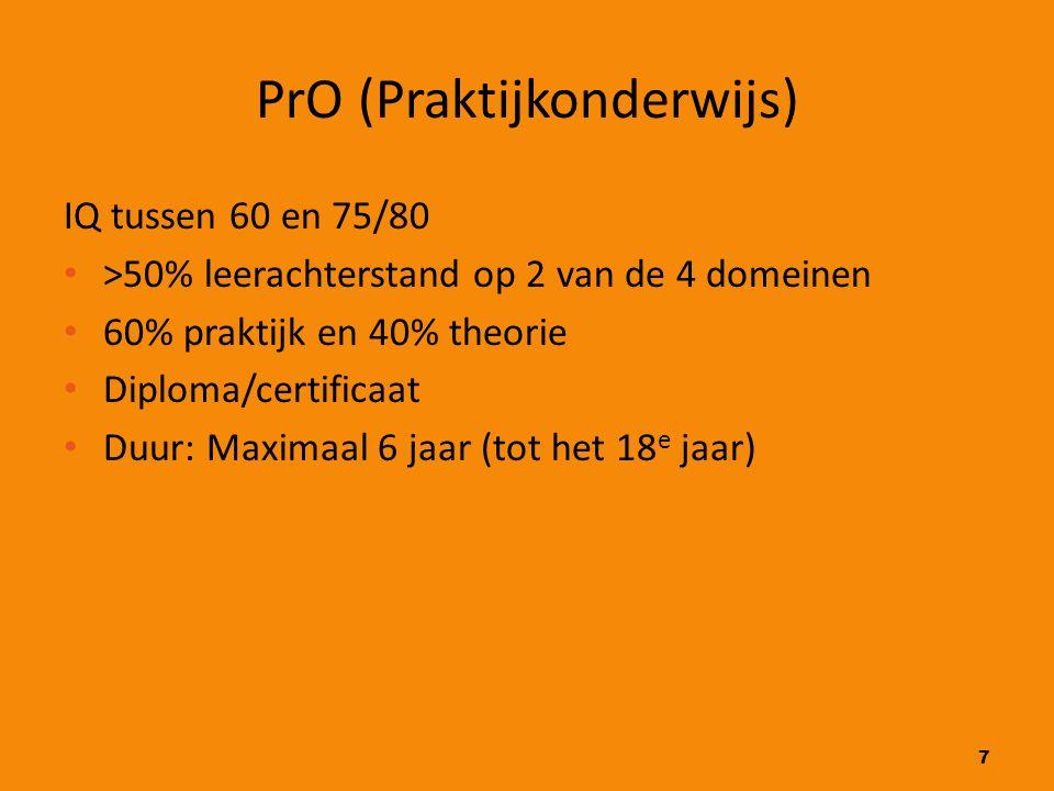 7 PrO (Praktijkonderwijs) IQ tussen 60 en 75/80 >50% leerachterstand op 2 van de 4 domeinen 60% praktijk en 40% theorie Diploma/certificaat Duur: Maxi