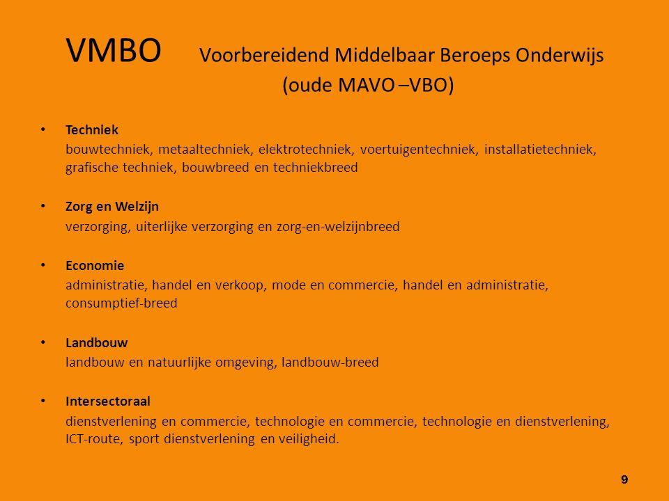 9 VMBO Voorbereidend Middelbaar Beroeps Onderwijs (oude MAVO –VBO) Techniek bouwtechniek, metaaltechniek, elektrotechniek, voertuigentechniek, install